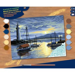 Sequin Art Paint by Numbers SQ0427 Набор для творчества ,,Harbour at Sunri