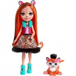 Mattel Enchantimals FRH39 Papusa Enchantimals cu animalut - Tanzie Tiger si figurina Tuft, 15 cm
