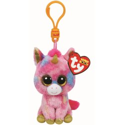 TY TY36619 Jucarie de Plus - Breloc Unicorn multicolor FANTASIA, 8,5 cm