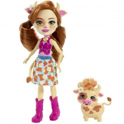 Mattel Enchantimals FXM77 Papusa figurina de joacă Cailey Cow si figurina Curdle  new, 15 cm